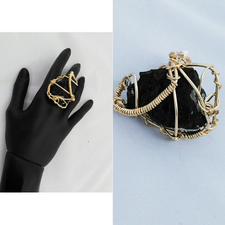 Black Tourmaline Adjustable ring