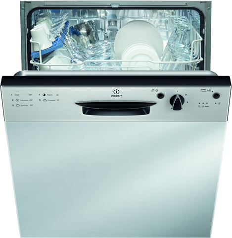 Indesit DPG15B1NX Semi Integrated Dishwasher - Stainless Steel Effect Control Panel