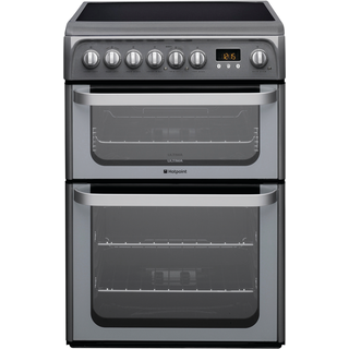 Hotpoint Ultima HUE61G S 60cm Electric Double Oven with Ceramic Hob Freestanding Cooker - Graphite