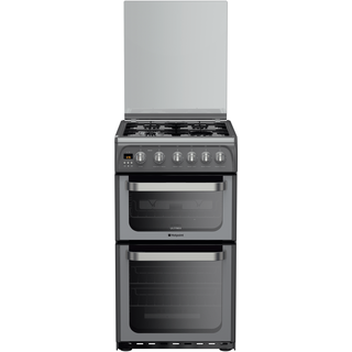 Hotpoint Ultima HUG52G 50cm Gas Double Oven Freestanding Cooker - Graphite