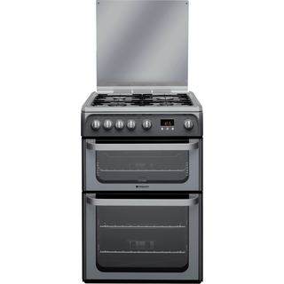 Hotpoint Ultima HUG61G 60cm Gas Double Oven Freestanding Cooker - Graphite