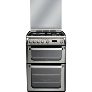 Hotpoint Ultima HUG61X 60cm Gas Double Oven Freestanding Cooker - Stainless Steel