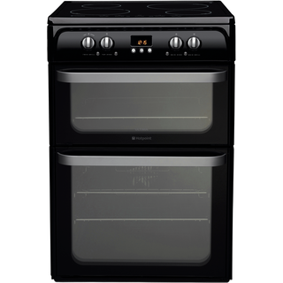 Hotpoint Ultima HUI614 K 60cm Electric Double Oven with Induction Hob Freestanding Cooker - Black