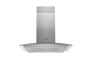 Indesit IHGC6AMX 60cm Curved Glass Hood - Stainless Steel