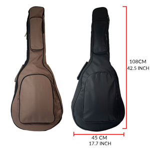 41 Inch Acoustic Guitar Bag 1cm Thick Padding Waterproof Dual Adjustable Shoulder Strap Guitar Case Gig Bag with Back Hanger Loop, Black