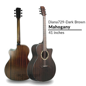 Diana 729 Acoustic Guitar 41 inches DarkBrown