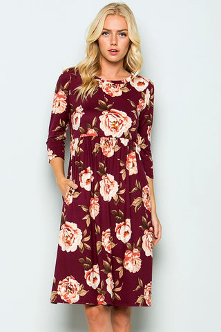 Burgundy Floral Pocketed Empire Waist Knee Length Dress