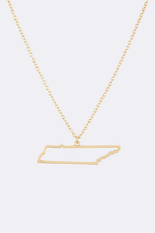 State Outline Necklace in Gold or Silver tone