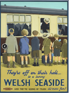 Retro style railway poster 1950s style welsh seaside humour