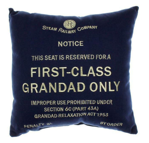 First class Grandad blue cushion Harvey Makin railway humour