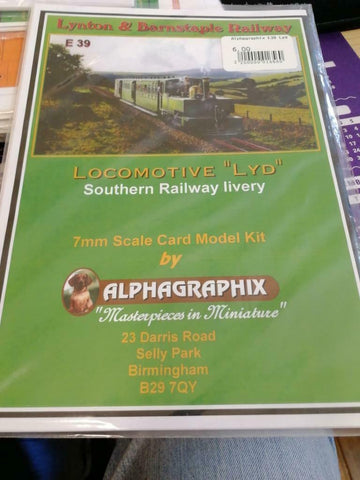 Lynton Barnstaple Lyd SR livery E38 Alphagraphix 7mm card kit - The Vale of Rheidol Railway