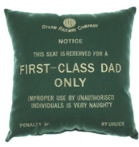 First Class Dad green cushion Harvey Makin railway humour - The Vale of Rheidol Railway
