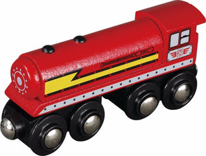 red steam locomotive unboxed small foot legler wooden train fits Brio