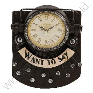 Typewriter Metal Case Mantel Clock - battery operated