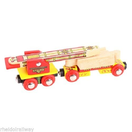 Bigjigs track laying wagon, fits Brio, wooden train - The Vale of Rheidol Railway