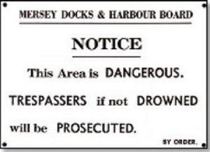 Mersey docks harbour board  replica sign railway dangerous humour NRM replica - The Vale of Rheidol Railway