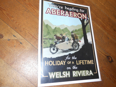 Aberaeron,Poster,Retro Style By A.G..Cain railway style 1930s - The Vale of Rheidol Railway