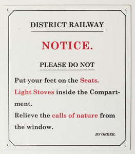 District railway Enamel effect small sign . Replica railway humour