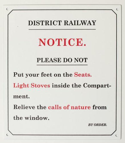 District railway Enamel effect small sign . Replica railway humour - The Vale of Rheidol Railway