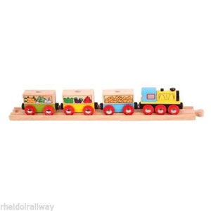 Wooden train,Big Jigs fruit n veg Train fits Brio