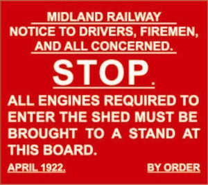 Midland Railway Stop Sign MR metal replica humour - The Vale of Rheidol Railway