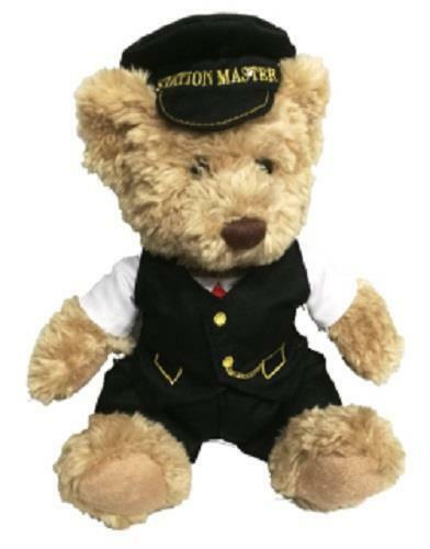 Scraggy railway bear 30cms with removable clothing William the station master - The Vale of Rheidol Railway
