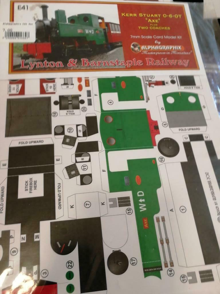 Lynton Barnstaple Axe WD livery E41 Alphagraphix 7mm card kit - The Vale of Rheidol Railway
