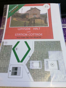 Wayside halt with station cottage 4mm OO gauge card kit Alphagraphix F506