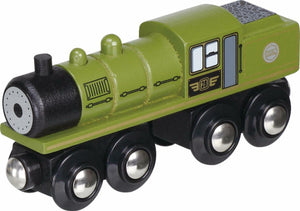 green steam locomotive unboxed small foot legler wooden train fits Brio