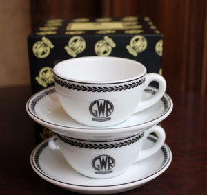 GWR pair espresso cup saucer replica porcelain Recreations by Centenary lounge - The Vale of Rheidol Railway