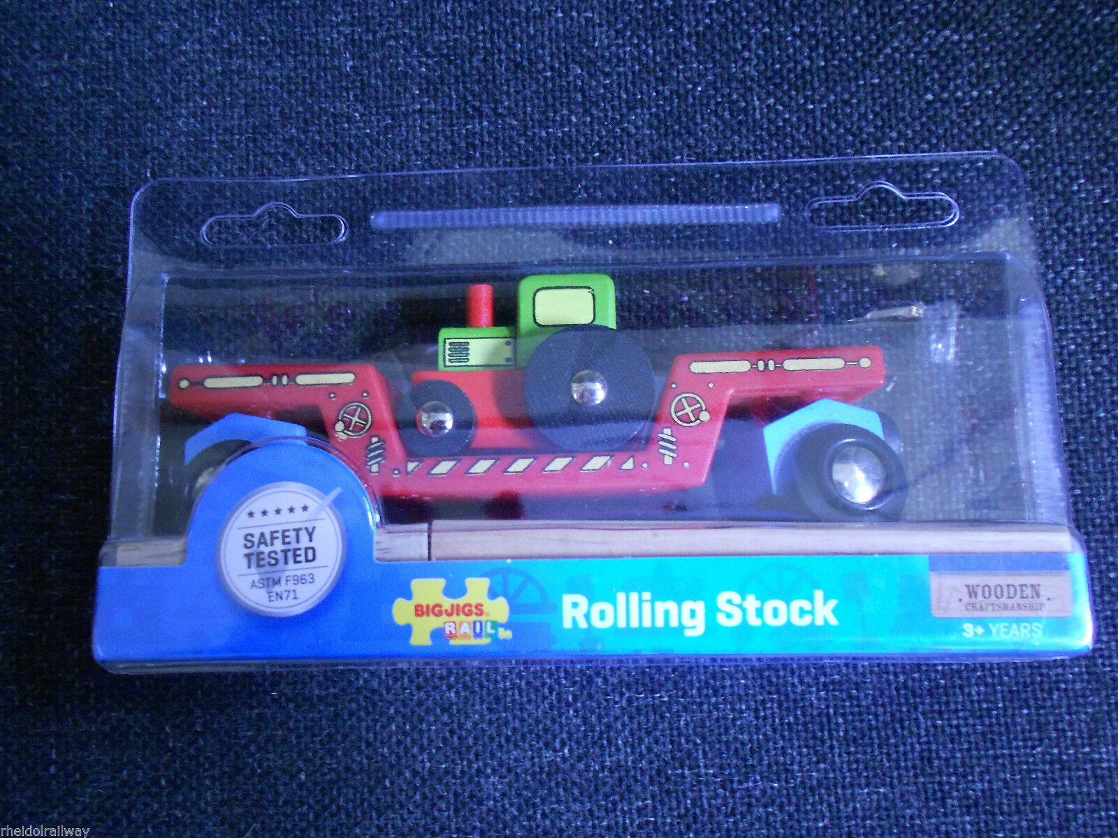 Wooden railway, BigJigs Tractor Low Loader fits Brio