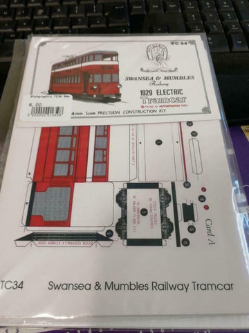 Swansea Mumbles tramway 1929 tramcar Alphagraphix 4mm card kit TC34