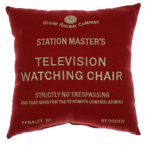 First class television watching chair red cushion Harvey Makin railway humour - The Vale of Rheidol Railway