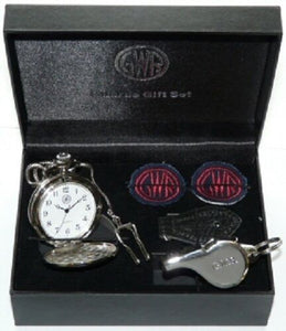 GWR Guards gift set - whistle, watch lapels, chain, presentation box replica