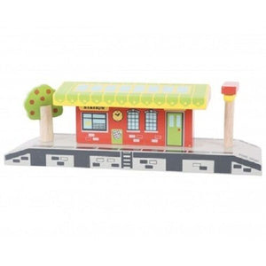 wooden train,Bigjigs,Village station,fits Brio