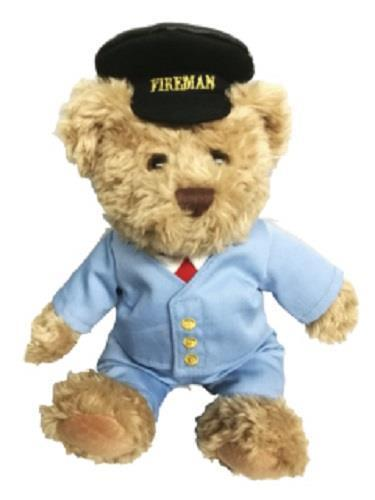 Scraggy railway bear 30cms with removable clothing Freddie the fireman