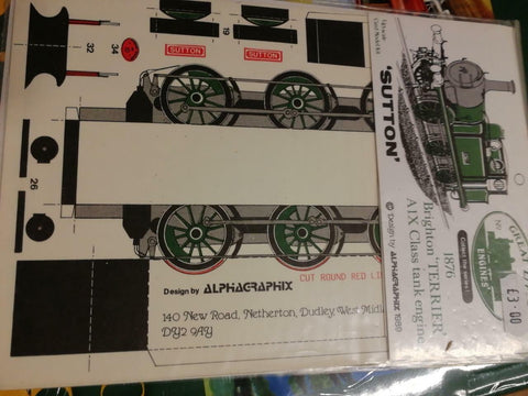 Alphagraphix Terrier A1X Sutton SR 7mm O gauge 1:43 card kit - The Vale of Rheidol Railway