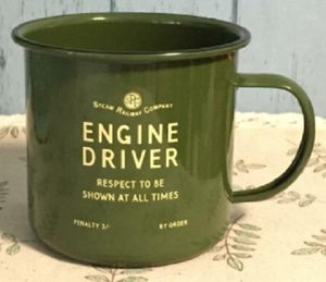Engine Driver enamel mug green Harvey Makin railway humour - The Vale of Rheidol Railway