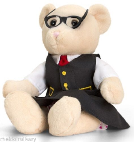 Charlotte booking clerk Railway Bear plush toy 20 cms seated. removable clothes - The Vale of Rheidol Railway