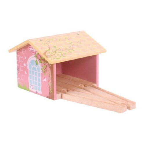 wooden train,Bigjigs,Pink double engine shed,fits Brio