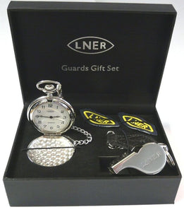 LNER Guards gift set - whistle, watch lapels, chain, presentation box replica