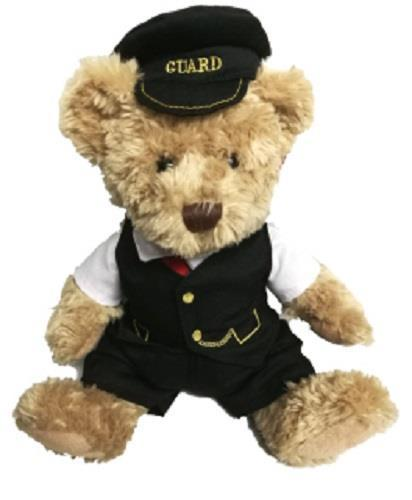 Scraggy railway bear 30cms with removable clothing George the guard - The Vale of Rheidol Railway