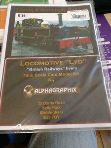 Lynton Barnstaple Lyd BR livery E38 Alphagraphix 7mm card kit