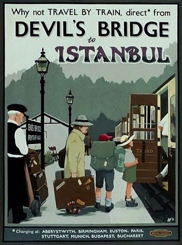 Devil's Bridge,Poster,Retro Style A.G.Cain railway style Istanbul 1950s Devils - The Vale of Rheidol Railway