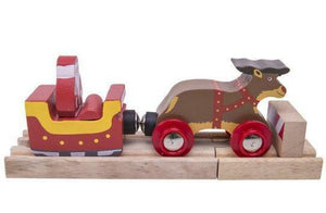 Bigjigs Christmas santa sleigh with reindeer wooden railway fits Brio santa elf - The Vale of Rheidol Railway