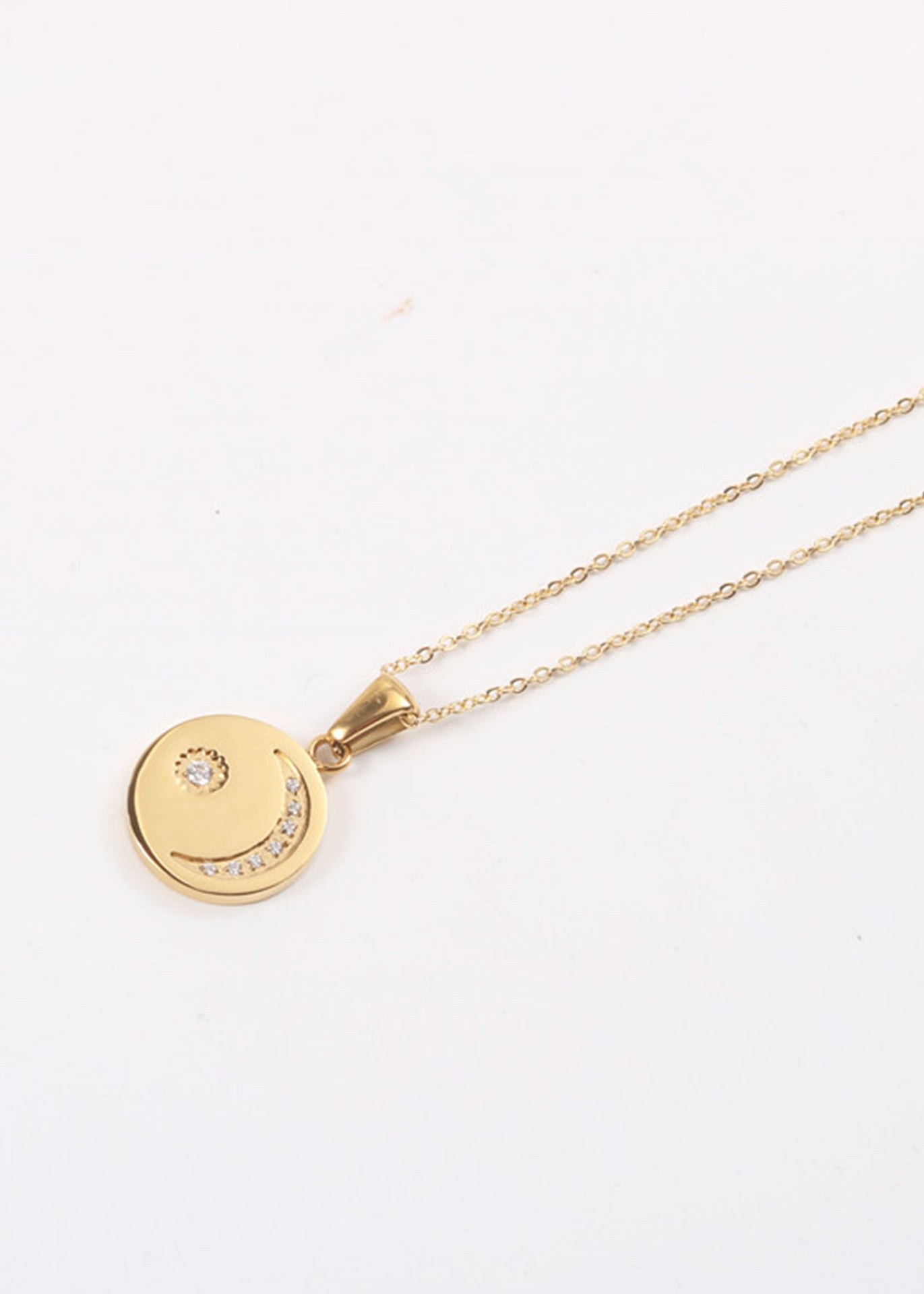 La Lune Crystal Moon 18K Gold Plated Necklace