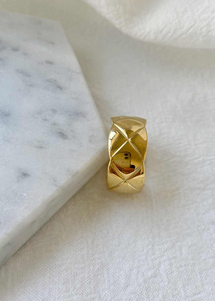 Xia Wide Cross Band 18K Gold Plated Ring