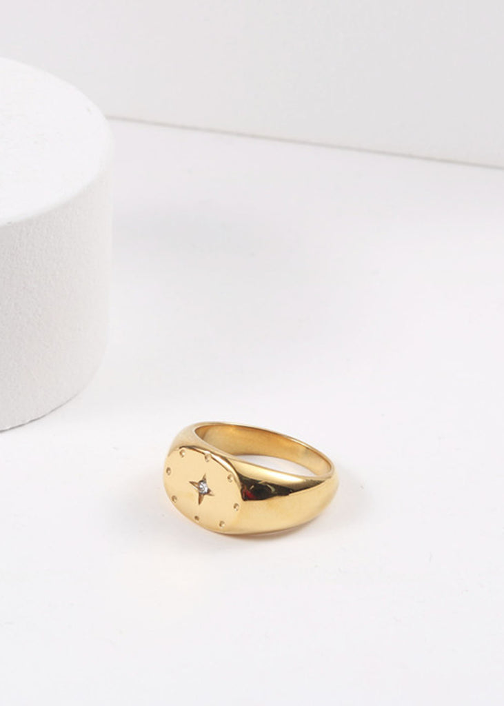 Polaris 18K Gold Plated Signet Ring