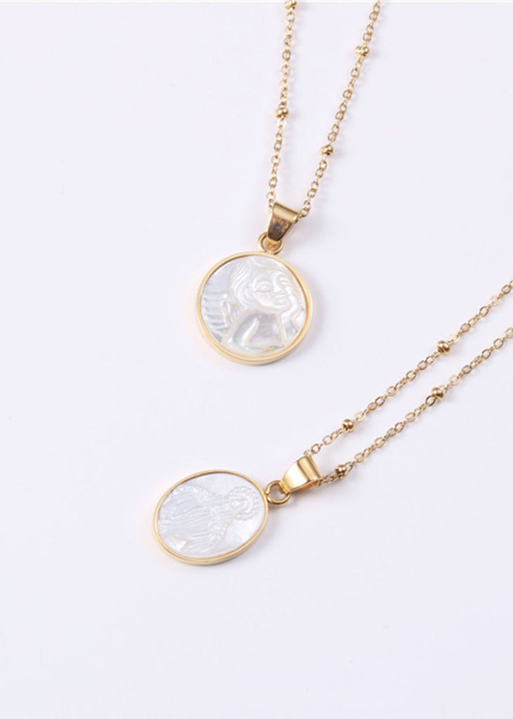 Angel 18K Gold Plated Cameo Necklace