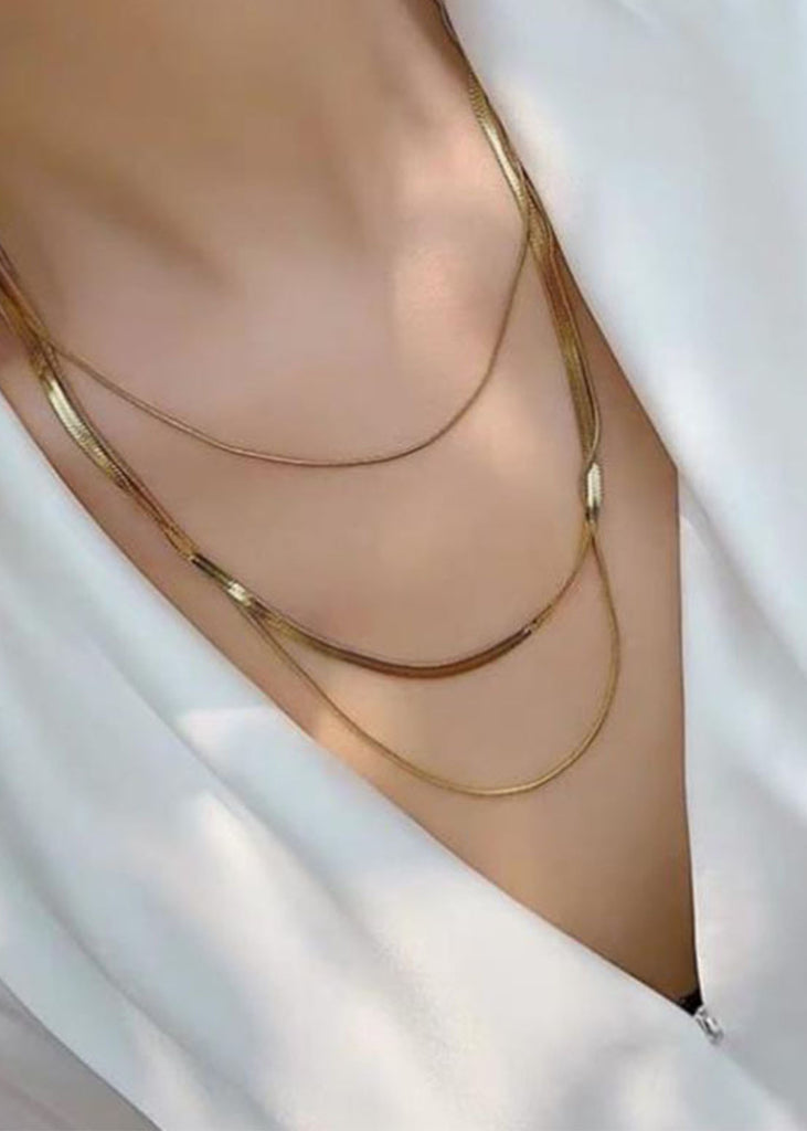 Carenza Triple Layer 18K Gold Plated Necklace